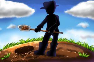 スコップで穴を掘るイラスト